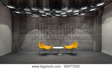 Contemporary Yellow Chairs Arranged Around Small White Table in Empty Room with Wooden Wall. 3d Rendering.