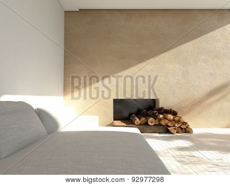 Comfortable sofa in a sunny minimalist living room with a fireplace with logs with one white and one beige accent wall. 3d Rendering.