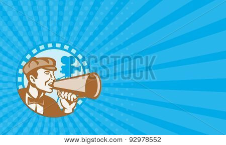 Business Card Movie Film Director With Bullhorn And Camera Retro