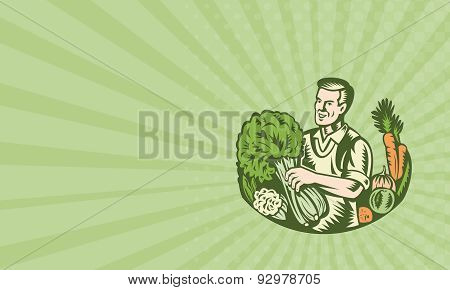 Business Card Organic Farmer Green Grocer With Vegetables Retro