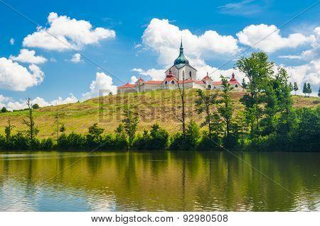 Pilgrimage church of Saint John of Nepomuk at Zelena Hora, Zdar nad Sazavou, Czech Republic is the final work of a famous baroque architect Jan Santini Aichel poster