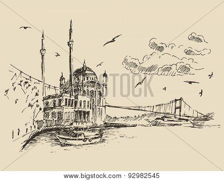 Istanbul, Turkey, City, Bosphorus Vintage Engraved