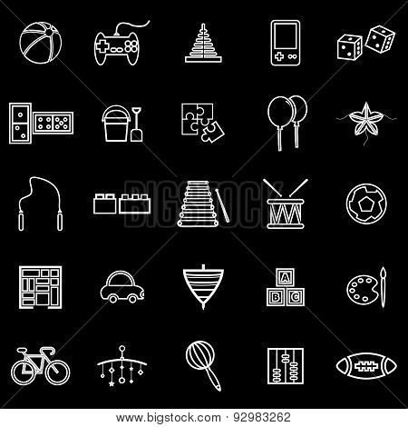 Toy Line Icons On Black Background
