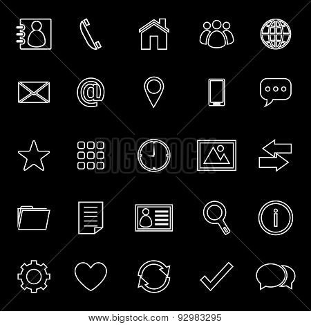 Contact Line Icons On Black Background