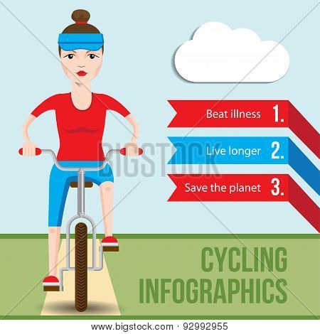 Bicycle infographics concept with front view of smiling cartoon hipster woman