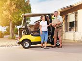 active senior couple coming home with groceries on golf cart poster