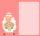 Cartoon sheep bride on pink background for a design poster