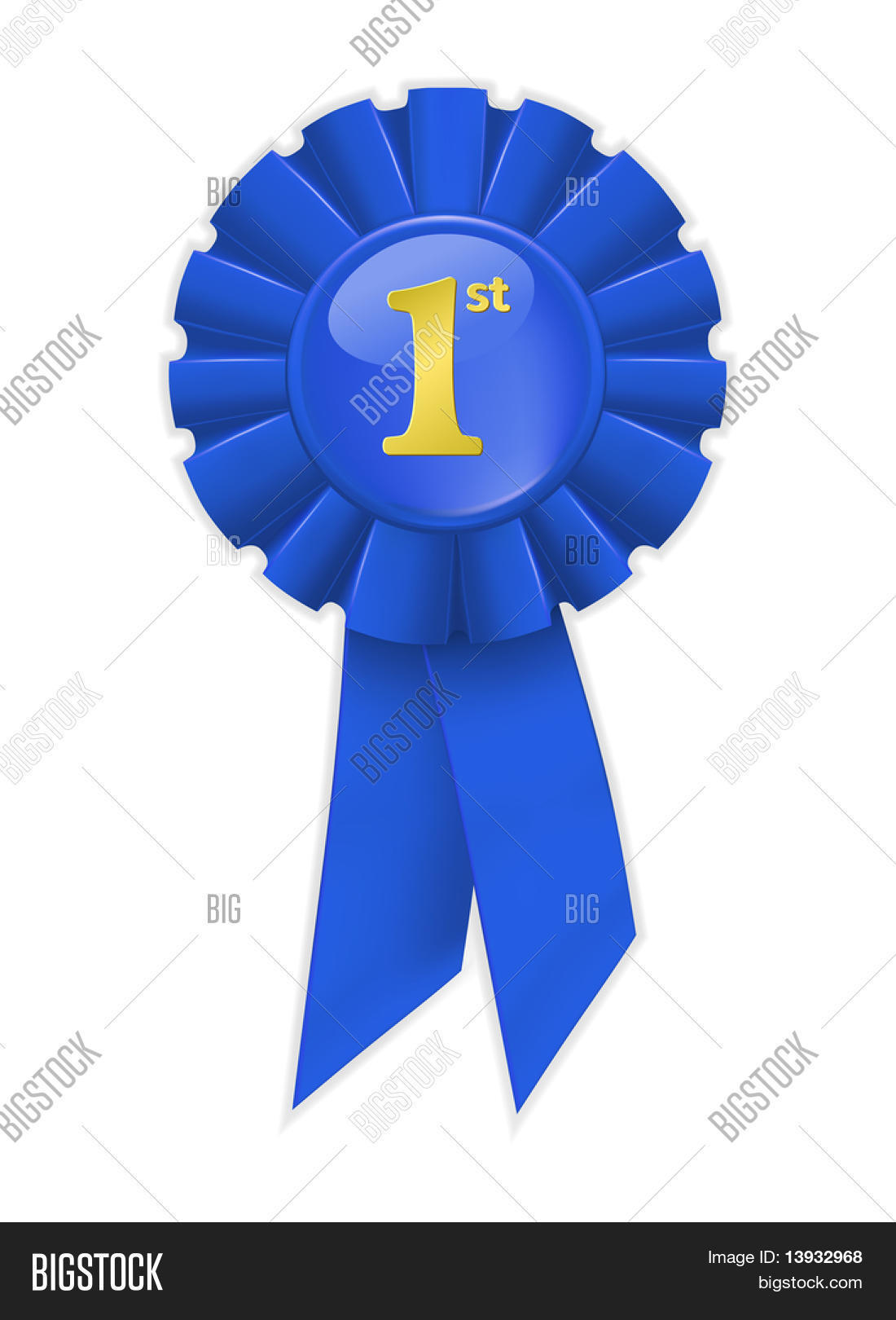 Blue Ribbon Picture first place blue vector & photo (free trial) | bigstock