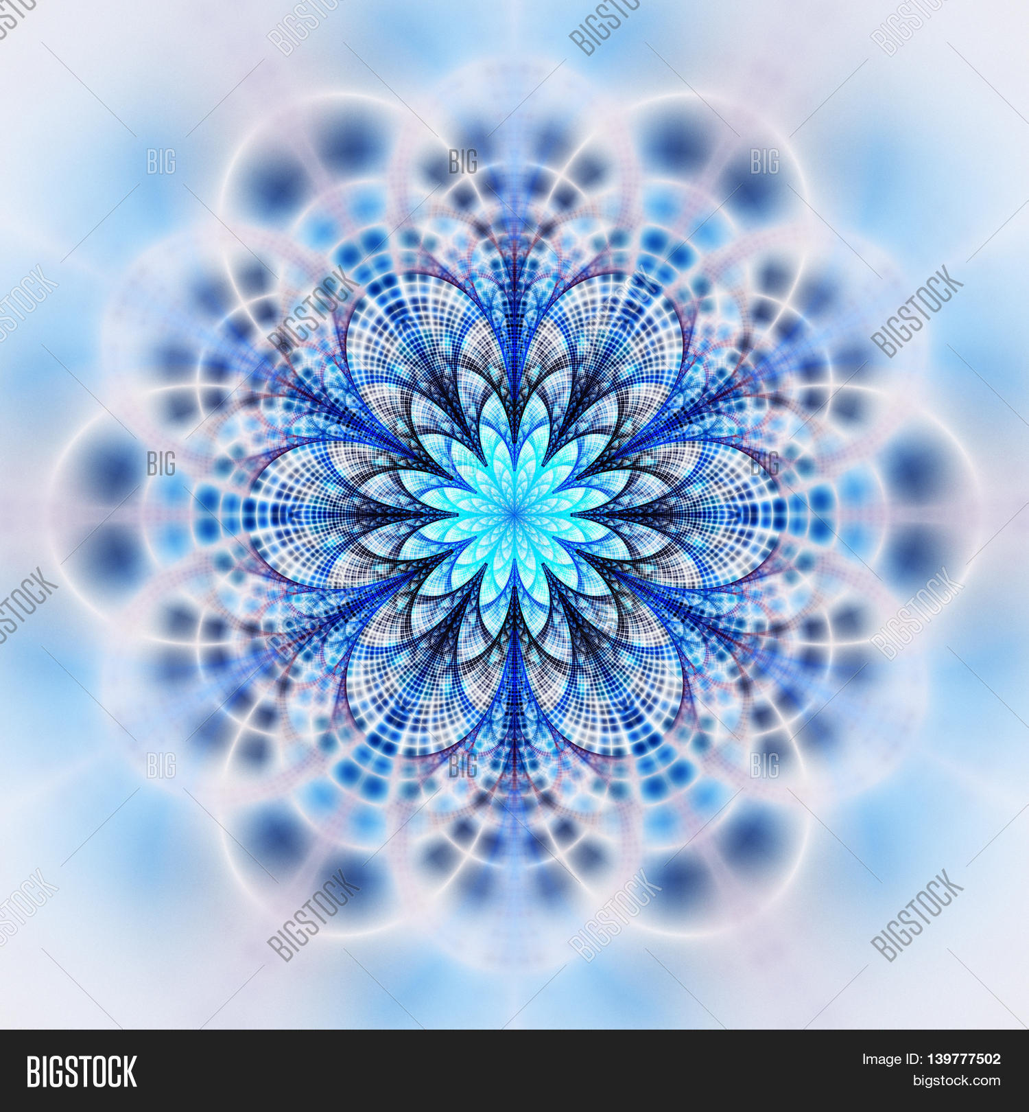 7ebabe92b Abstract flower mandala on white background. Symmetrical pattern in grey  and blue colors. Fantasy