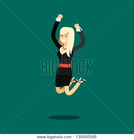 Business woman in black costume vector illustration. Office staff, isolated characters girl happy face, people success, bounces up. Business concept in flat. Educational aspirations of man.