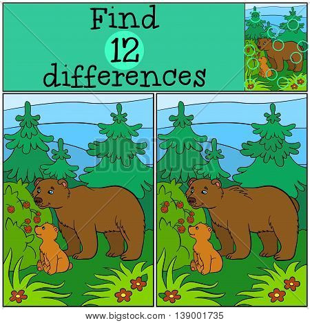 Children Games: Find Differences. Daddy Bear With His Little Cute Baby Bear Looks At The Raspberry.