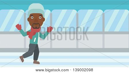 An african-american man ice skating on indoor ice skating rink. Sport and leisure concept. Vector flat design illustration. Horizontal layout.