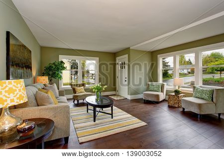 Living room interior with green walls hardwood floor and rug. Black coffee table