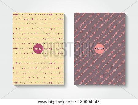 Modern grunge brush postcard template, art vector cards design, funny hipster design, doodle background