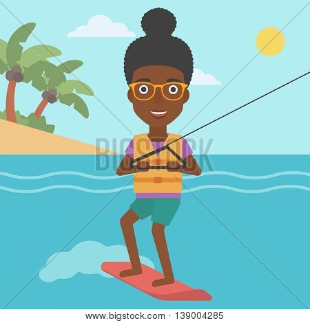 An african-american sports woman wakeboarding on the sea. Wakeboarder making tricks. Woman studying wakeboarding. Young woman riding wakeboard. Vector flat design illustration. Square layout.