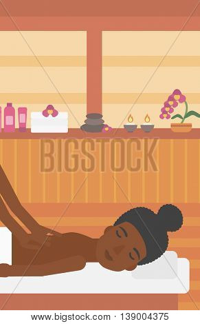 An african-american woman getting a back massage on the background of spa center. An african-american woman having back massage in the spa salon. Vector flat design illustration. Vertical layout.