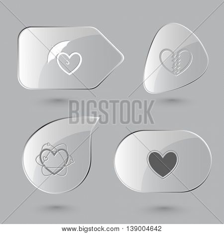 4 images: protection, unrequited love, atomic heart. Heart shape set. Glass buttons on gray background. Vector icons.