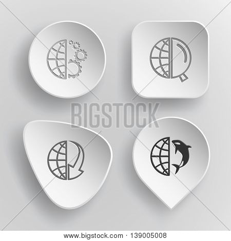 4 images: globe and gears, and magnifying glass, and array down, and shamoo. Globe set. White concave buttons on gray background. Vector icons.