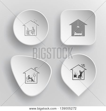 4 images: home work, hotel, reading, watching TV. Home set. White concave buttons on gray background. Vector icons.