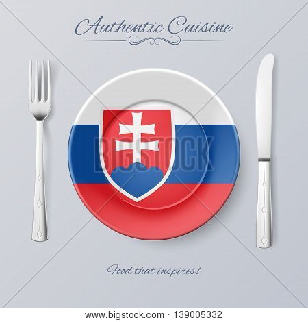 Authentic Cuisine of Slovakia. Plate with Slovak Flag and Cutlery