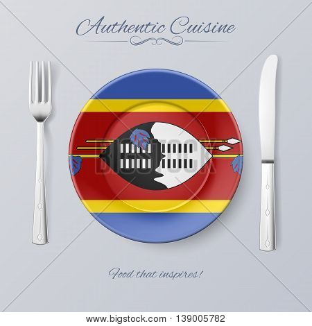 Authentic Cuisine of Swaziland. Plate with Swazi Flag and Cutlery