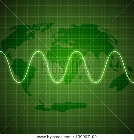 Energy waves - Green background abstract background of shimmering circles.luminous design.neon effect