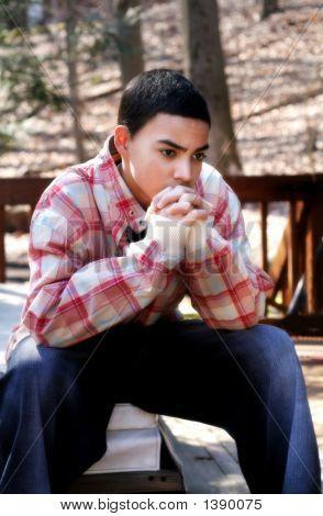Pensive Teen Boy