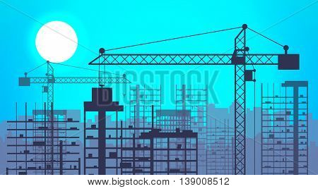 Construction site with buildings and cranes. skyscraper under construction. vector illustration on blue sky background with sun