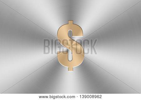 golden dollar icon inlay on chrome aluminium texture. 3d illustration
