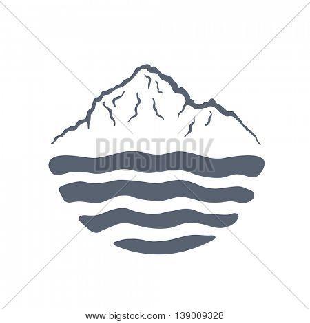Mountain range over a lake, sea or ocean, outdoor logo vector illustration.