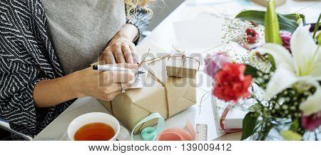 Female Writing Thankyou Card Present Concept