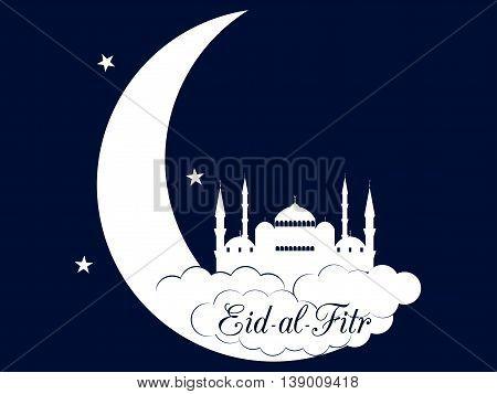 Ramadan Kareem, Blue Mosque, Minaret. Eid Al Fitr Muslim Traditional Holiday. Eid Mubarak. Vector.