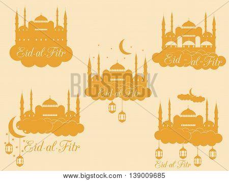Ramadan Kareem, Blue Mosque, Minaret, Lantern And Moon, Muslim Holiday Lights. Eid Al Fitr Muslim Tr