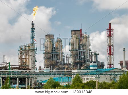 Tobolsk, Russia - July 15. 2016: Sibur company. Petrochemical Industrial Complex. Oil refinery building industry