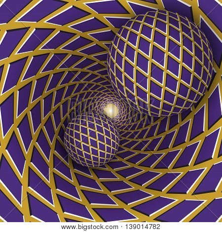 Optical illusion illustration. Two balls are moving on rotating golden background with purple rhombuses. Abstract background in a surreal style.