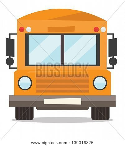 Yellow school bus vector flat design illustration isolated on white background.