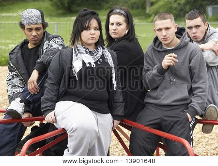 Group Of Young People In Playground