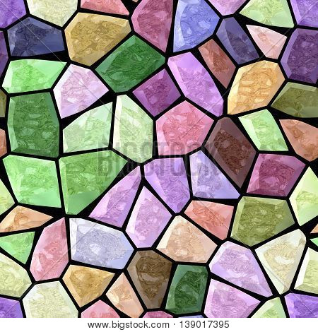 color full spectrum marble irregular plastic stony mosaic seamless pattern texture background with black grout