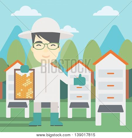 An asian farmer wearing protective suit. Bee-keeper holding a framework in hand and showing thumb up on the background of apiary. Vector flat design illustration. Square layout.