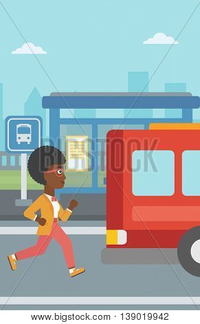 An african-american latecomer woman running along the sidewalk to reach a bus. Young woman came too late at bus stop. Woman chasing a bus. Vector flat design illustration. Vertical layout.