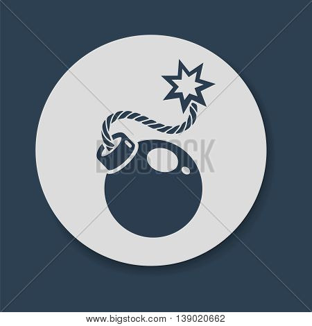 Flat bomb icon. Bomb with lit fuse vector illustration