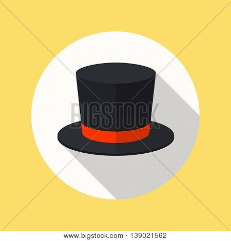 Top hat flat icon with long shadow