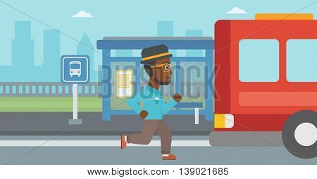 African-american latecomer man running along the sidewalk to reach a bus. Hipster man with the beard came too late at bus stop. Man chasing a bus. Vector flat design illustration. Horizontal layout.