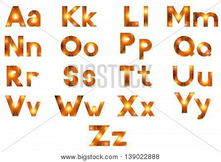 Alphabet, Set of English Letters Signs Uppercase and Lowercase, Stylized Gold and Orange Holiday Firework with Stars and Flares, Elements for Web Design