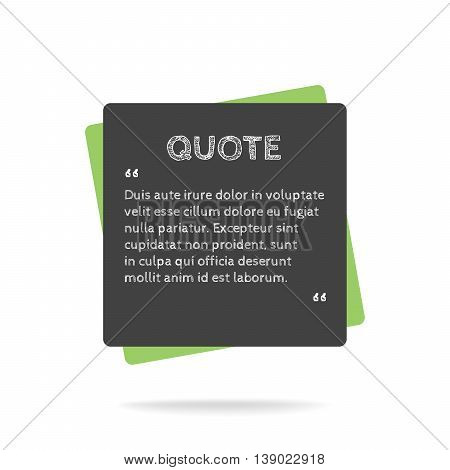 Quotation mark speech bubble. Empty quote blank citation template. Square design element for business card, paper sheet, information, note, message, motivation, comment etc. Vector illustration.