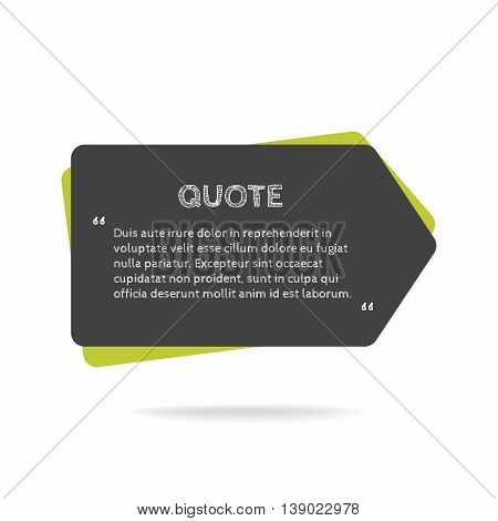 Quotation mark speech bubble. Empty quote blank citation template. Rectangle design element for business card, paper sheet, information, note, message, motivation, comment etc. Vector illustration. poster