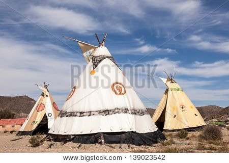 TABERNAS SPAIN - OCT 17 2015: Indian tepees at the Fort Bravo Texas Hollywood western style theme park in Almeria Spain