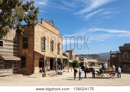 TABERNAS SPAIN - OCT 17 2015: VIsitors at the Fort Bravo Texas Hollywood western style theme park in the Province of Almeria Spain
