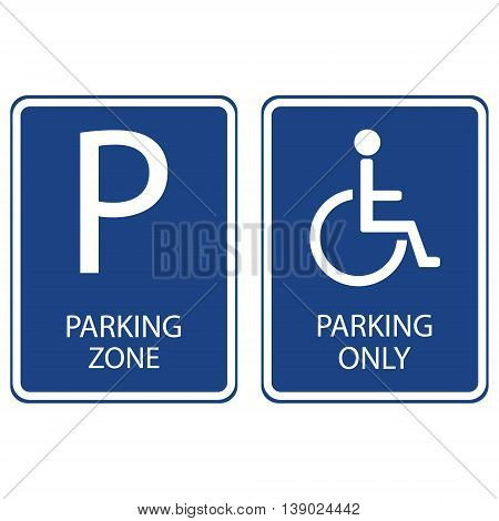 Vector illustration blue handicap car parking or wheelchair parking space sign. Blue car parking zone sign. Parking space. Blue roadsign with letter P on rectangular plate