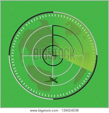 Vector illustration of green radar screen with airplane symbol. Radar icon